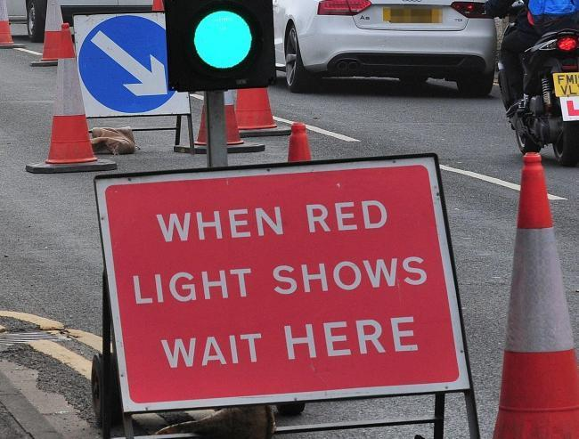 Temporary Traffic Lights in Keighley Road